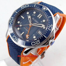 41mm bliger navy blue dial GMT ceramic bezel rubber strap automatic mens watch