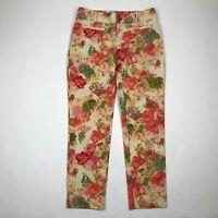 "Cartonnier Anthropologie Women Orange Peach Floral Slim Ankle Pants sz 4 (30"" W)"