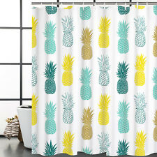 Pineapple Shower Curtain Waterproof Polyester Fabric with Hooks Bathroom