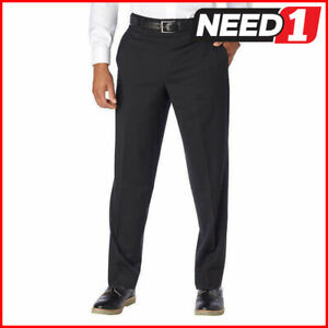 SIGNATURE Men's Wool Flat Front Dress Slacks   99% Wool   Black