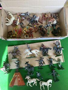 Vintage Wild West Cowboys, Mexicans & Indians Plastic Toy Soldiers Lot 1/32