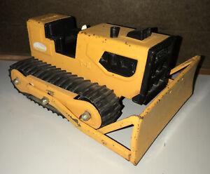 "Vintage Steel Tonka T-6 Bulldozer Track Dozer ORANGE Pressed Steel 9"" Long 41240"