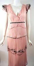 NATAYA Pink/Black Silk Victorian Gatsby Formal Dress XL Victorian Formal Evening
