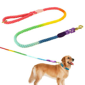 4/6ft Braided Cotton Rope Dog Leash Heave Duty Durable Walking Lead Small/Large