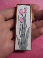 pink tulip flowers rectangle glass copper trim pin fashion brooch I love tulpis