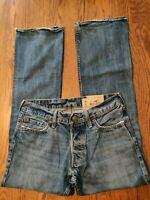 Hollister men's size 30 x 32 jeans bootcut high rise zip up distressed