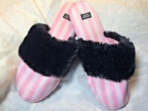 Victorias Secret pink Satin striped Slippers black Faux Fur scuff Mules S flat