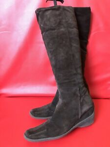 Womens Brown Suede Zip Knee High Boots Size UK 5