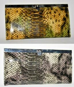 """New Designer Large Woman's Ladies Wallet Eco Leather Reptile Skin Silver 7,5x4"""""""