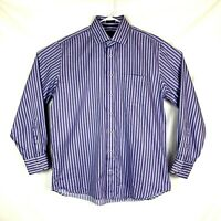 Peter Millar Purple Striped Long Sleeve Button Up Cotton Shirt Mens Size Large