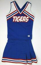 "Girls Tigers Teen Cheerleader Uniform Outfit Costume 28"" Top 23 Skirt Royal Blue"