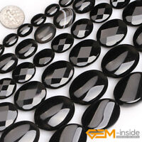 "Natural Black Agate Onyx Gemstone Oval Beads For Jewelry Making Strand 15""8-40MM"