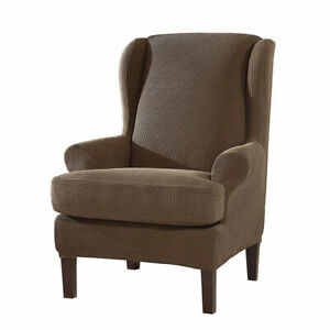 Elastic Wing Back Chair Cover Separate2pc Wing Back Arm Chair Sofa Slipcover