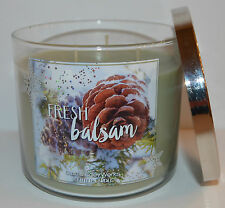 NEW BATH & BODY WORKS FRESH BALSAM SCENTED CANDLE 3 WICK 14.5OZ LARGE GREEN CUTE