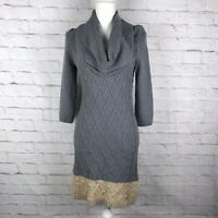 Anthropologie Sparrow Dress Gray Beige Sweater Cableknit Cotton Cashmere Blend S