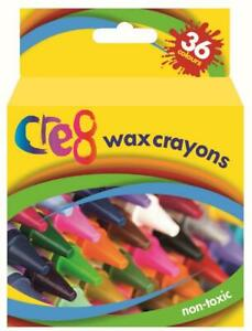 36 x Non-Toxic Wax Crayons Bright Assorted Colours Kids Colouring Art Crafts