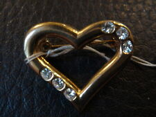 BELLE BROCHE COEUR ET STRASS VINTAGE 80 NEUF/NEW /OLD/NEW RHINESTONE BROCH