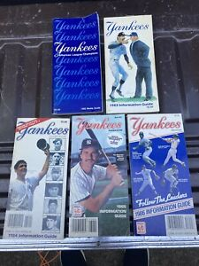 Lot (5) New York Yankees Media/Information Guides, 1982-1986, Excellent