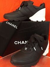 16P NIB CHANEL BLACK WHITE LEATHER CC LOGO  LOW TOP LACE UP SNEAKERS 38.5 $950