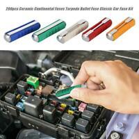 200pcs Ceramic Continental Fuses Torpedo Bullet Fuse Classic Auto Car Fuse Kit
