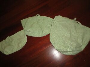 POTTERY BARN GREEN & WHITE GINGHAM CHECK (3PC) BASKET LINERS BABY NURSERY