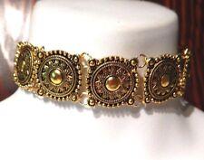 SUN GODDESS COLLAR gold-tone metal choker necklace bohemian ornate disc new N1