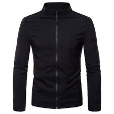 Euro Stand Collar Solid Color Jacket - Black