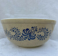VTG Pyrex Homestead #403 Nesting Mixing Bowl Tan Blue Speckled Design 2-1/2 Qt.