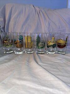 6 Wilbur Kurtz Vintage Glasses Atlanta Georgia 1800's Historic Building Sites