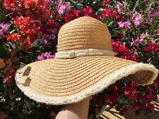 NWT FABULOUS CHANEL WIDE BRIM FLOPPY BEIGE PANAMA FEDORA STRAW RAFFIA HAT 57