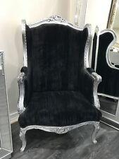 Français Wingback Double Ann Louis fauteuil argent noir chic CHAMBRE COULOIR