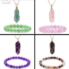 7 Chakra Natural Quartz Pendant Gem Stone Healing Charm Necklace + Bracelet Gift
