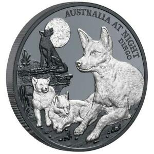 Niue 1 Dollar 2021 - Australien bei Nacht (5.) - Dingo - 1 Oz Silber BP