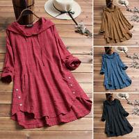 Women Long Sleeve Plaid Check Tops Blouse Loose Casual Shirts Asymmetrical