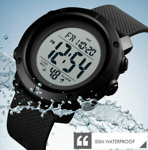 50M Waterproof Sports Watch Womens Mens Military Style Army Swimming Gym Walking