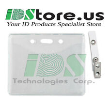 10 Clear Vinyl Horizontal Badge Holder & 10 ID Badge Clear Vinyl Strap Clips