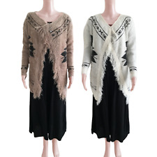 FEATHER SHAWL CARDIGAN LONG SLEEVE WRAP BATWING KNITWEAR ONE SIZE & TWO COLOURS