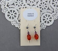 Genuine Amber & Amethyst Earrings Sterling Silver Faceted Oval Hematite Accent