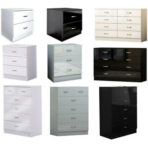 White Black or Grey Gloss Chests of Drawers & Bedsides.Fast Delivery.Matt Frames
