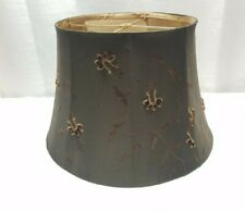 Vintage Mid Century Modern Black Gold Lamp Light Shade Floral Cloth Silk Canvas