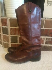 FRYE 77167 Melissa Button Tall Cognac Leather Riding Boots Size 8 M  $368 msrp