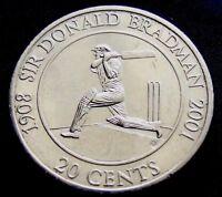 2001 Australian  Sir Donald Bradman Twenty 20 Cent Coin Uncirculated