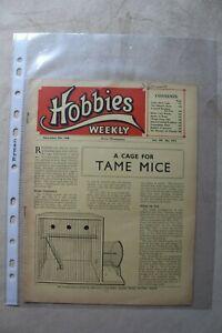 Hobbies Weekly 1948 Vol 107 No.2771 Magazine No Plan Collectable Book Comic