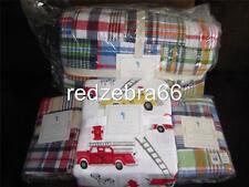 Pottery Barn Kids Madras Full Quilt Shams Firetruck Sheet Set 7-pc Navy-Multi