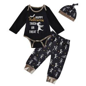 3pcs Newborn Baby Halloween Mummy Print Outfits Romper Pants Hat Set for 0-12M