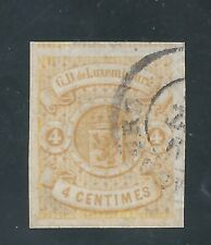 LUXEMBOURG 1860 4c yellow Imperf Used  SG 8