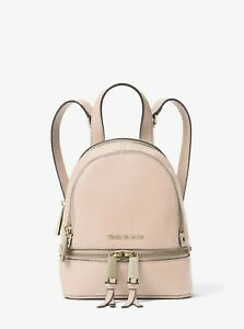Michael Kors Rhea Zip MINI Size Backpack Soft Pink Leather FACTORY SEALED