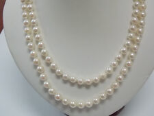 Akoya 6 mm Pearls Two Strand Box Filigree 14K White Gold Clasp 18 Inch Necklace