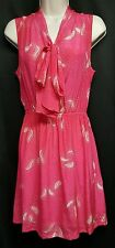Champagne Strawberry pink blouson 100% silk feather pattern tie neck dress M NEW