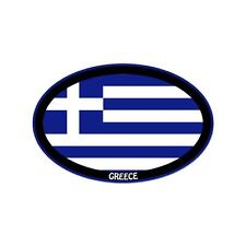 "Greece Euro oval car window bumper sticker decal 5"" x 3"""